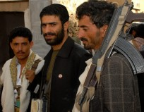 Dawood Marhabi (C), a Yemeni Jew from al-Salem village in the province of Saada, is seen with Muslim guests at the wedding party of fellow Yemeni Jew Yussef Saeed Hamdi (not in picture), in the village of Raydah in Yemen's Amran province, 70 kms north of Sanaa. Hamdi is completing his studies in Jerusalem but he came back home to get married to a young woman from his community, according to relatives. A few hundred Jews still live in Yemen, but recent threats by rebels from the Zaidi minority made some leave their homes in the Saada province, 242 kms north of Sanaa, to the capital. The Jewish community of al-Salem left their village last year to settle in Sanaa under the protection of the Yemeni government and international Jewish organizations, following direct threats from the Zaidi rebels. AFP PHOTO/KHALED FAZAA (Photo credit should read KHALED FAZAA/AFP/Getty Images)